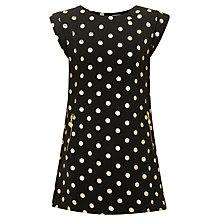 Buy Yumi Girl Polka Dot Foil Dress, Black/Gold Online at johnlewis.com