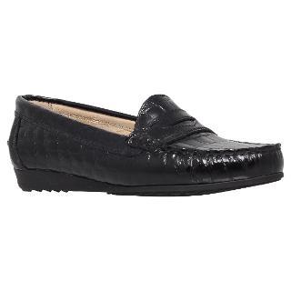 Buy Carvela Comfort Cassie Leather Croc Print Loafers, Black Online at johnlewis.com