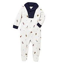 Buy Polo Ralph Lauren Baby Bear Shawl Sleepsuit, White Online at johnlewis.com