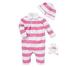 Buy Polo Ralph Lauren Coverall Gift Set, Set of 3, Pink/White Online at johnlewis.com
