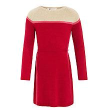 Buy John Lewis Girl Colour Block Sequin Patch Knit Dress, Red/Gold Online at johnlewis.com