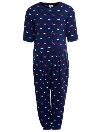 Buy Kin by John Lewis Girl's Bow Print Jumpsuit, Navy Online at johnlewis.com