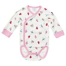 Buy Polarn O. Pyret Baby's Animal Bodysuit, White/Pink Online at johnlewis.com