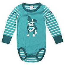 Buy Polarn O. Pyret Baby's Dog and Stripe Bodysuit, Green/White Online at johnlewis.com