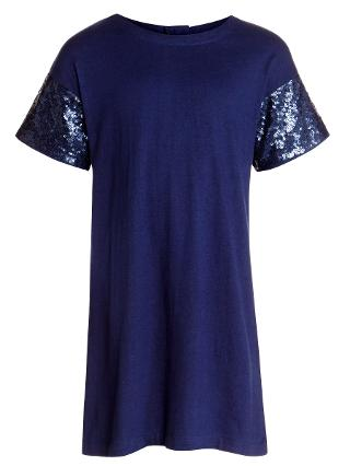 Buy Loved & Found Girls' Sequin Sleeve T-Shirt Dress, Blue Online at johnlewis.com