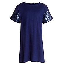 Buy Loved & Found Girls' Sequin Sleeve T-Shirt Dress, Blue Online at johnlewis.com