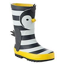 Buy John Lewis Novelty 3D Penguin Wellington Boots, Grey/Yellow Online at johnlewis.com