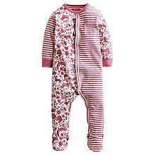Buy Baby Joule Stripe Print Floral Sleepsuit, Pink Online at johnlewis.com