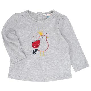 Buy John Lewis Embroidered Birdy Long Sleeve T-Shirt, Grey Online at johnlewis.com