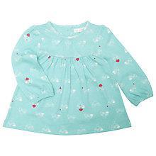Buy John Lewis Birdie Print Long Sleeve Dress Top, Turquoise Online at johnlewis.com