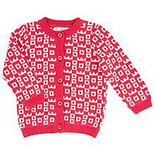 Buy John Lewis Crown Pattern Intarsia Knit Cardigan, Red/White Online at johnlewis.com