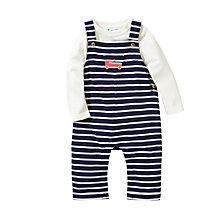 Buy John Lewis Baby Stripe Dungaree & Jersey Set, Navy/Cream Online at johnlewis.com