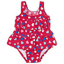 Buy John Lewis Love Hearts Ruffle Sunproof Swimsuit, Red/Multi Online at johnlewis.com