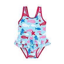 Buy John Lewis Sea Life Skirt Swimsuit, Blue/Pink Online at johnlewis.com