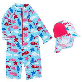 Buy John Lewis Sea Life Sunproof Rash Vest Swimsuit & Hat, Blue/Red Online at johnlewis.com