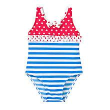 Buy John Lewis Heart & Stripe Nautical Swimsuit, Blue/Red Online at johnlewis.com