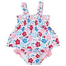 Buy John Lewis Poppy Frill Sunproof Swimsuit, White/Multi Online at johnlewis.com