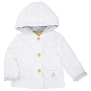 Buy John Lewis Baby's Textured Hooded Jacket, White Online at johnlewis.com