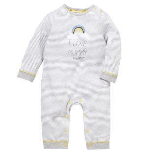 Buy John Lewis 'I Love Mummy' Footless Sleepsuit, Grey Online at johnlewis.com