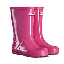 Buy Hunter Children's Gloss Wellington Boots, Fuschia Online at johnlewis.com