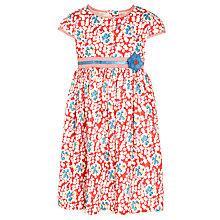 Buy John Lewis Girl Short Sleeve Floral Belt Dress, Poinsettia Online at johnlewis.com