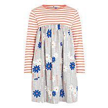 Buy John Lewis Girl Floral & Stripe Contrast Dress, Grey/Orange Online at johnlewis.com