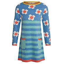 Buy John Lewis Girl Floral Half & Half Knit Dress, Aqua Online at johnlewis.com