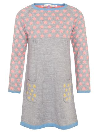 Buy John Lewis Girl Colour Block Star Print Knitted Dress, Grey Online at johnlewis.com
