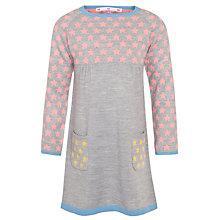 Buy John Lewis Girl Colour Block Star Print Knitted Dress, Grey Online at johnlewis.com