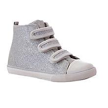 Buy John Lewis Lulu Sparkle Canvas Hi-Top Trainers, Silver/Metallic Online at johnlewis.com