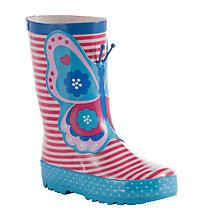 Buy John Lewis Children's 3D Butterfly Wellington Boots, Pink/Blue Online at johnlewis.com