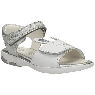 Buy Clarks Children's Wiggles Sandals, White/Silver Online at johnlewis.com