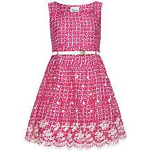 Buy Yumi Girl Flower Print Embroidered Hem Dress, Magenta Online at johnlewis.com