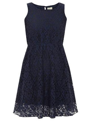 Buy Yumi Girl Sleeveless Lace Dress, Navy Online at johnlewis.com