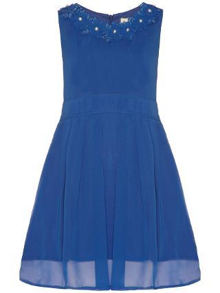 Buy Yumi Girl Embroidered Neckline Dress, Cobalt Blue Online at johnlewis.com
