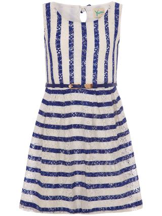 Buy Yumi Girl Stripe Lace Dress, White/Blue Online at johnlewis.com