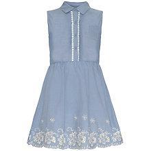 Buy Yumi Girl Embroidered Hem Chambray Dress, Light Blue Online at johnlewis.com