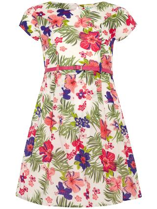 Buy Yumi Girl Tropical Print Cotton Dress, White/Multi Online at johnlewis.com