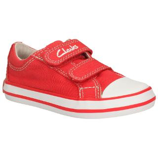Buy Clarks Halcy Sky Canvas Trainers, Red/White Online at johnlewis.com