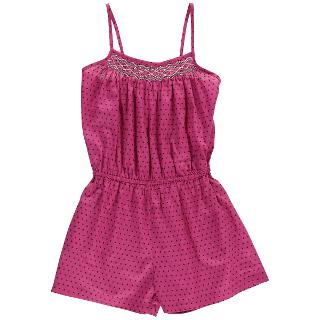 Buy Question Everything Girls' Harper Hand Smocked Spot Playsuit, Pink Online at johnlewis.com