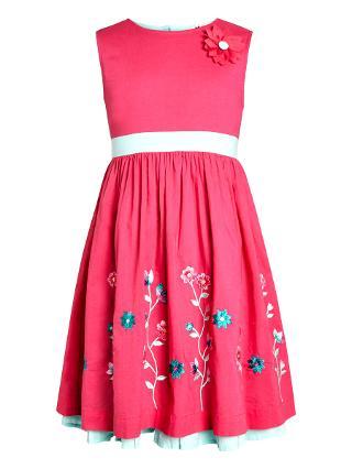 Buy John Lewis Girl Embroidered Dress, Pink Online at johnlewis.com