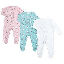 Buy John Lewis Baby Vintage Floral Sleepsuit, Pack of 3, Mutli Online at johnlewis.com