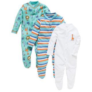 Buy John Lewis Zoo Animal Sleepsuit, Pack of 3, Multi Online at johnlewis.com