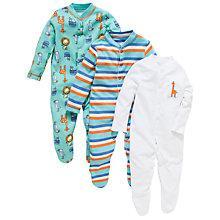 Buy John Lewis Baby Zoo Animal Sleepsuit, Pack of 3, Multi Online at johnlewis.com