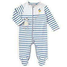 Buy John Lewis Baby Mouse Stripe Sleepsuit, Blue Online at johnlewis.com