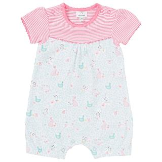 Buy John Lewis Baby's Stripe/Rabbit Shortie Babygrow, Pink/Blue Online at johnlewis.com