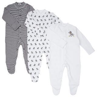 Buy John Lewis Zebra Print Sleepersuit, Pack of 3, Black/White Online at johnlewis.com