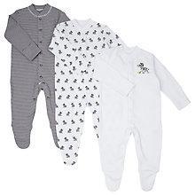 Buy John Lewis Baby Zebra Print Sleepersuit, Pack of 3, Black/White Online at johnlewis.com