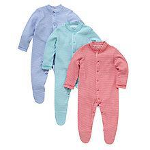 Buy John Lewis Baby Stripe Cotton Sleepsuits, Pack of 3, Multi Online at johnlewis.com