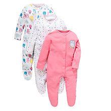 Buy John Lewis Baby Owl Sleepsuit, Pack of 3, Multi Online at johnlewis.com